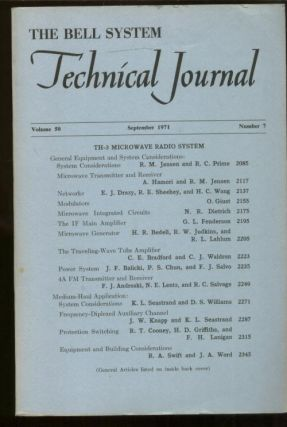 Bell System Technical Journal volume 50 Number 7 September 1971. Bell System.