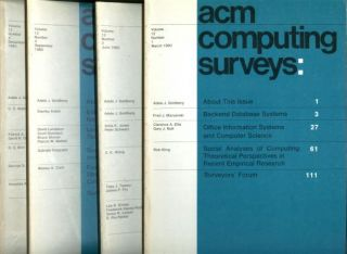 ACM Computing Surveys volume 12, no. 1 through no. 4, 1980 complete year, 4 individual issues; March 1980, June 1980, September 1980, December 1980. Association of Computing Machinery.