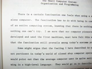 The Small Computer System -- Organization and Programming. Stapled duplicated-typescript pages