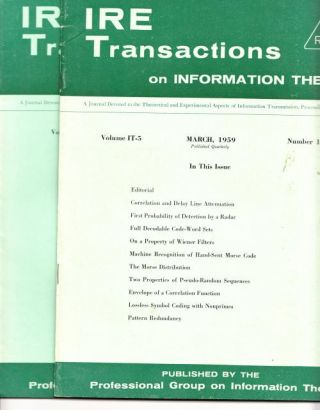 2 issues, IRE Transactions on Information Theory, March 1959 and June 1959; volume IT-5, numbers...