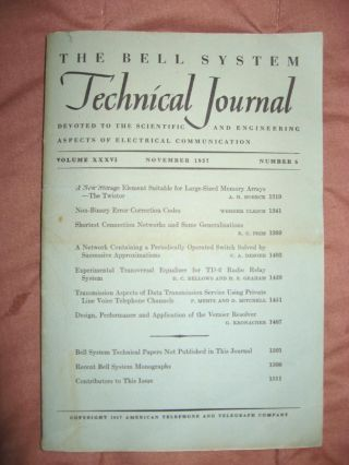 Bell System Technical Journal Volume XXXVI Number 6 November 1957 ; Vol 36 No. 6. Bell System