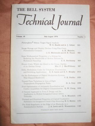 The Bell System Technical Journal volume 49 no. 6, July-August 1970. AT&T