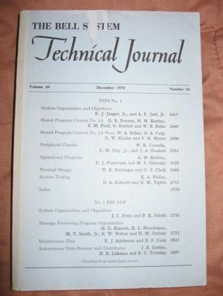 The Bell System Technical Journal volume 49 no. 10, December 1970; TSPS No. 1; No. 1 ESS ADF....