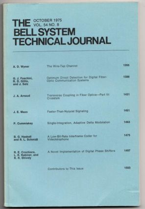 The Bell System Technical Journal volume 54 no. 8, October 1975. AT&T