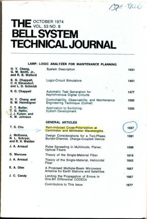The Bell System Technical Journal volume 53 no.8, October 1974. AT&T