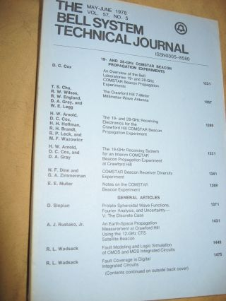 The Bell System Technical Journal vol 57 no. 5, May-June 1978, single issue. AT&T BSTJ