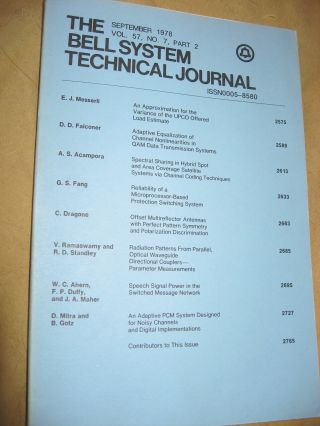 The Bell System Technical Journal September 1978 vol 57 no 7 pt 2, individual issue. AT&T BSTJ