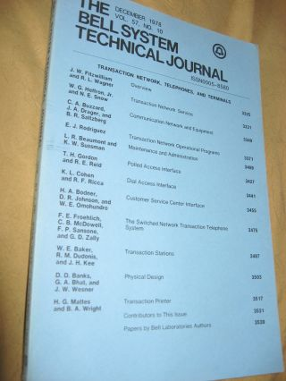 The Bell System Technical Journal December 1978 vol 57 no. 10, individual issue. AT&T BSTJ var