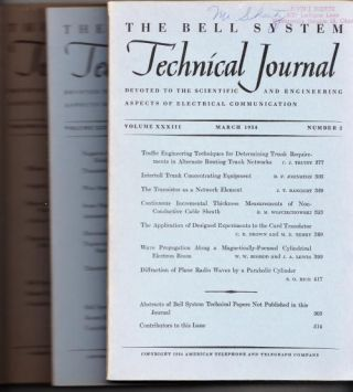 The Bell System Technical Journal 3 individual issues 1954 March, July, September. AT&T BSTJ