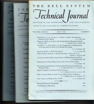 The Bell System Technical Journal volume XXXVII 1958 3 individual issues May, July, November;...