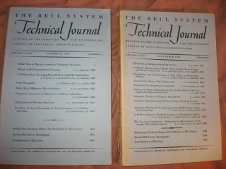 The Bell System Technical Journal 1956 LOT of 2 individual issues, volume XXXV numbers 5, 6; September 1956, November 1956. AT& T. BSTJ.