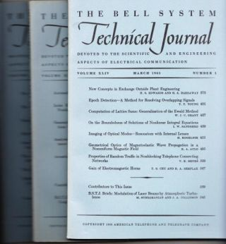 The Bell System Technical Journal 1965 LOT of 3 individual issues Volume XLIV numbers 3,4,5...