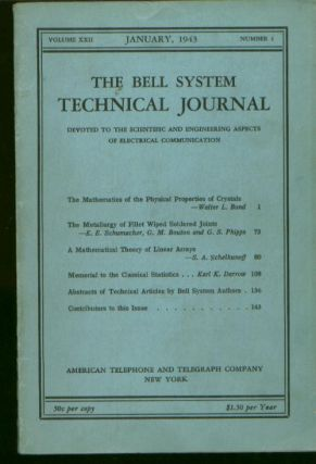 Bell System Technical Journal volume XXII Number 1 January 1943 ; Vol 22 No 1. The Bell System...