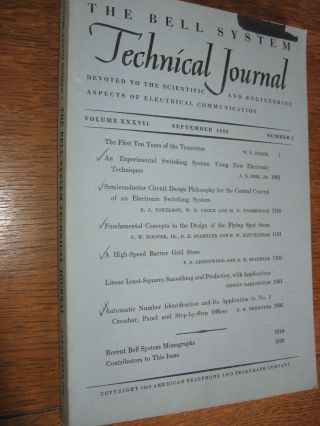 Bell System Technical Journal volume XXXVII Number 5 september 1958; vol 37 no 5. Bell System Technical Journal.