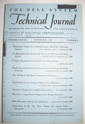 Bell System Technical Journal Volume XXXVII No 6 November 1958 / Vol 37 no 6. Bell System...