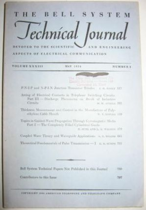 Bell System Technical Journal Volume XXXIII No 3 May 1954 , Volume 33 No 3. Bell System Technical...