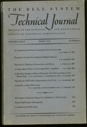 Bell System Technical Journal Volume XXXV Number 2 March 1956 , Vol 35 No 2. Bell System...