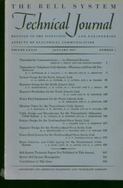 Bell System Technical Journal Volume XXXVI Number 1 January 1957 / Vol 36 No. 1. Bell System Technical Journal.