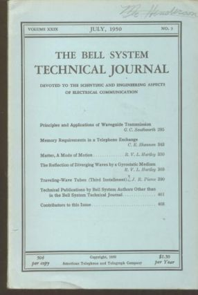 Memory Requirements in a Telephone Exchange, in, The Bell System Technical Journal vol 29 no. 3...