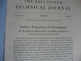 Surface Properties of Germanium [Walter H Brattain and John Bardeen], in, The Bell System Technical Journal volume XXXII number 1 January 1953 individual issue