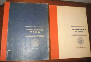 2 volumes FUNDAMENTALS OF COBOL Programmers Reference WITH Changes 1 nov. 1969. UNIVAC Division of Sperry Rand Corporation U. S. Navy Programming Languages Group.