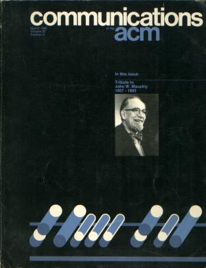 Communications of the ACM, tribute issue to John W Mauchly 1907-1980. John W. Mauchly, J Presper Eckert.