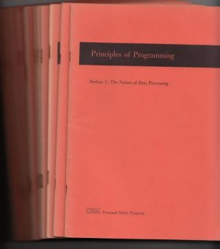 Principles of Programming, 1961 IBM Personal Study Program, 12 booklets complete, in brown...