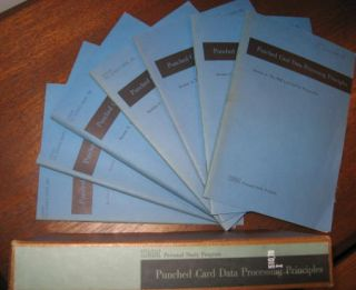 Punched Card Data Processing Principles; 7 booklets in original slipcase; Sorter, Reproducer, Collator, Calculator, punched cards etc. IBM Data Processing Division.