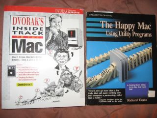 Lot of 2 books -- 1) The Happy Mac using utility programs (Richard Evans) 2) Dvorak's Inside...