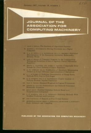 Journal of the Association for Computing Machinery [JACM] vol 14 no 1, January 1967. Journal of...