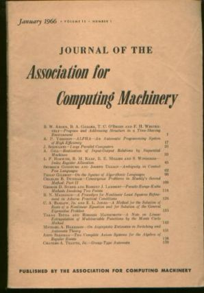 Journal of the ACM [JACM] Volume 13, Number 1, January 1966. Number 1 Journal of the ACM Volume...