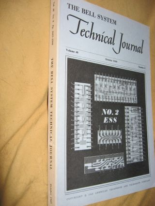 The Bell System Technical Journal vol. 48 no. 8, October 1969; single issue, No. 2 ESS etc. BSTJ...
