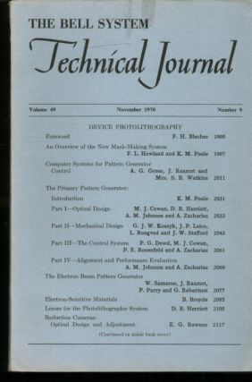 The Bell System Technical Journal volume 49 number 9, November 1970; individual issue, DEVICE PHOTOLITHOGRAPHY