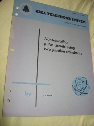 Nonsaturating pulse circuits using two junction transistors, Bell Telephone System Technical Publications, Monograph 2475 issued November 1955. J. G. Linvill.