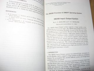 Computing Science and Systems 3B20D processor and DMERT operating system, in, Bell System Technical Journal Vol 62 No 1 part 2 January 1983