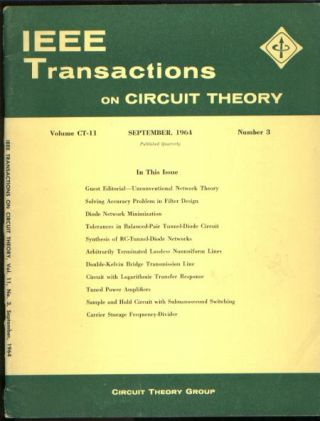 IEEE Transactions on circuit theory September 1964 vol CT-11 no 3. IEEE Transactions on circuit...