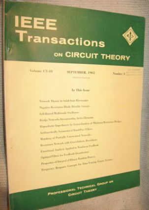 IEEE Transactions on Circuit Theory volume CT-10 Number 3 - September, 1963. IEEE Transactions on Circuit Theory / IRE.