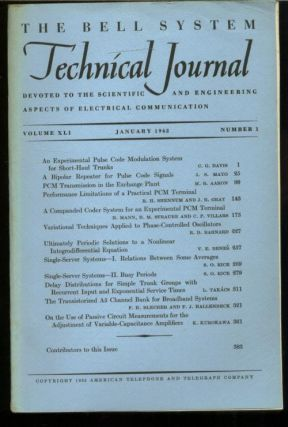 The Bell System Technical Journal volume XLI Number 1 , January 1962