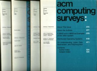 ACM Computing Surveys volume 17, no. 1 through no. 4, 1985 complete year, 4 individual issues; March 1985, June 1985, September 1985, December 1985. Association of Computing Machinery.