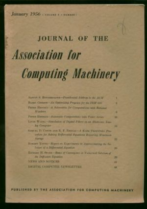 Journal of the Association for Computing Machinery, January 1956, volume 3 number 1. Digital...