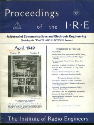 Proceedings of the IRE volume 37 number 4, April 1949. Institute of Radio Engineers.