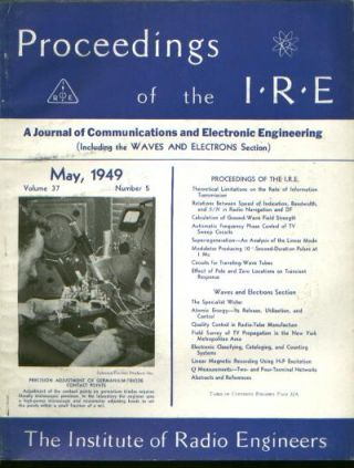 Proceedings of the IRE volume 37 number 5, May 1949. Institute of Radio Engineers