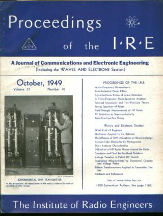 Proceedings of the IRE volume 37 number 10, October 1949. Institute of Radio Engineers.