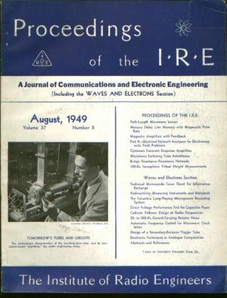 Proceedings of the IRE volume 37 number 8, August 1949. Institute of Radio Engineers', J. Presper Eckert, Isaac L. Auerbach.