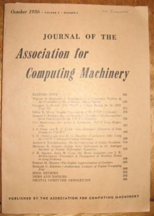 Journal of the Association for Computing Machinery, volume 3, number 4, October 1956. Baker,...
