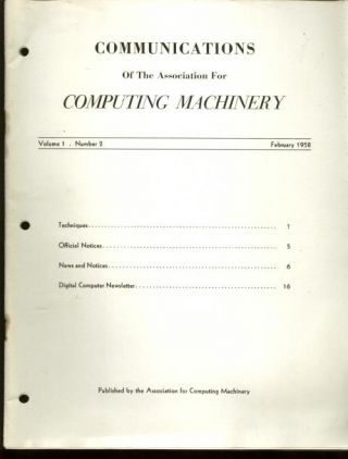 volume 1 number 2, February 1958, Communications of the Association for Computing Machinery,...