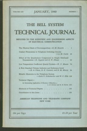 The Bell System Technical Journal volume IX no. 1 January 1940, includes H Nyquist and K W...