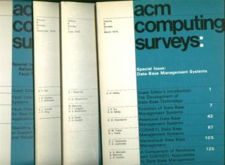 ACM Computing Surveys 1976 full year, 4 individual issues, Volume 8 nos. 1 - 4, March, June, September, December 1976