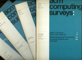 ACM Computing Surveys 1975 full year, 4 individual issues, Volume 7 nos. 1 - 4, March, June, September, December 1975. Association for Computing Machinery ACM Computing Surveys 1975.