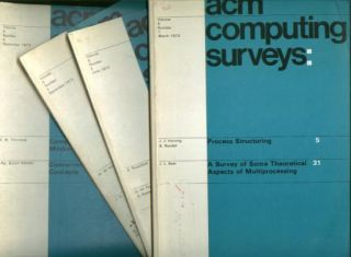 ACM Computing Surveys, volume 5 nos. 1 - 4, March 1973, June 1973, September 1973, December 1973 complete year, individual issues